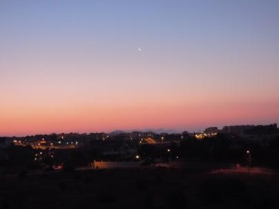 Het uitzicht bij zonsopkomst