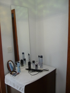 De kaptafel met spiegel